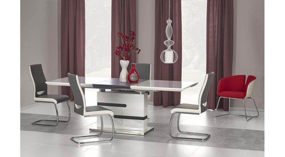 stylefy monaco table de salle a manger extensible 76x90x160 220 blanc gris